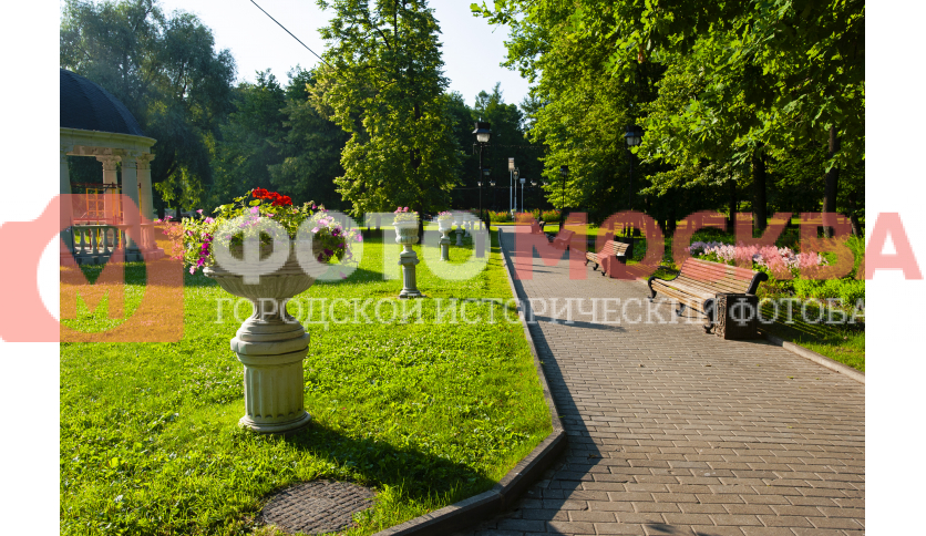 Полоса цветочных горшков в Екатерининском парке