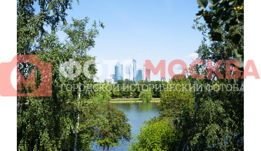 Вид на Москва-Сити с Новодевичьего пруда